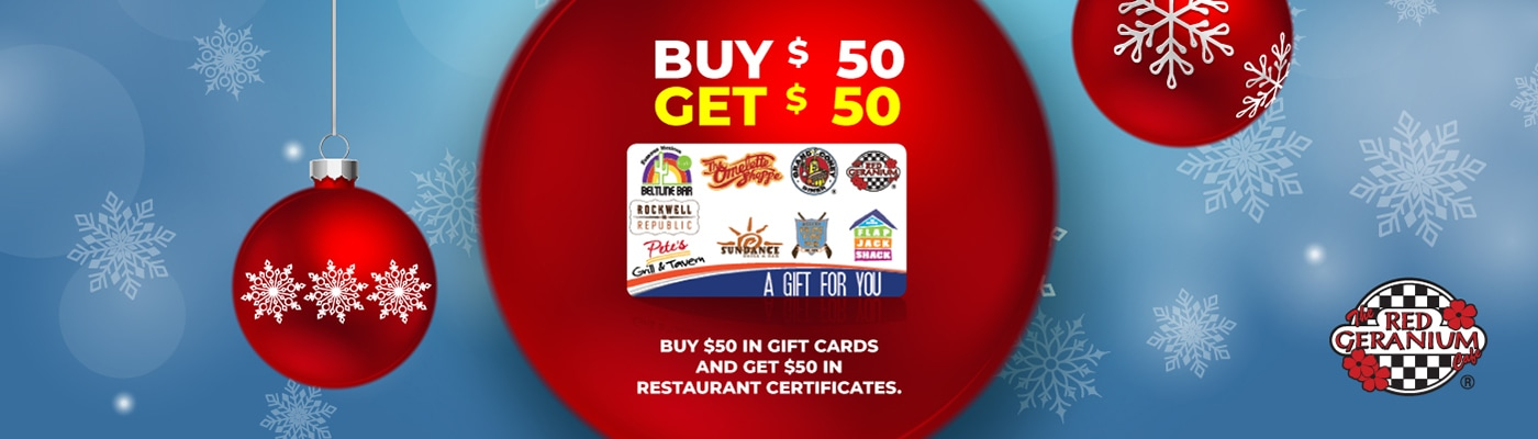 red geranium cafe gift card promotion